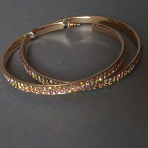 Large gold hoops with Swarovski crystals NWOT
